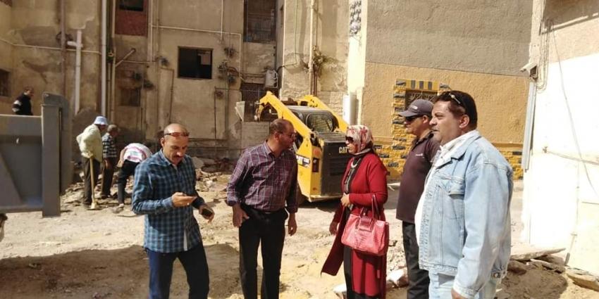 إزالة12حالة إشغال وتعدي بنطاق حي فيصل بمحافظة السويس
