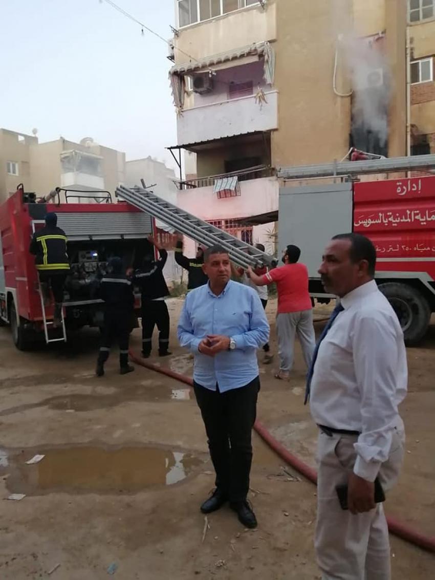 السيطرة علي حريق بمدينة شل بحي الاربعين