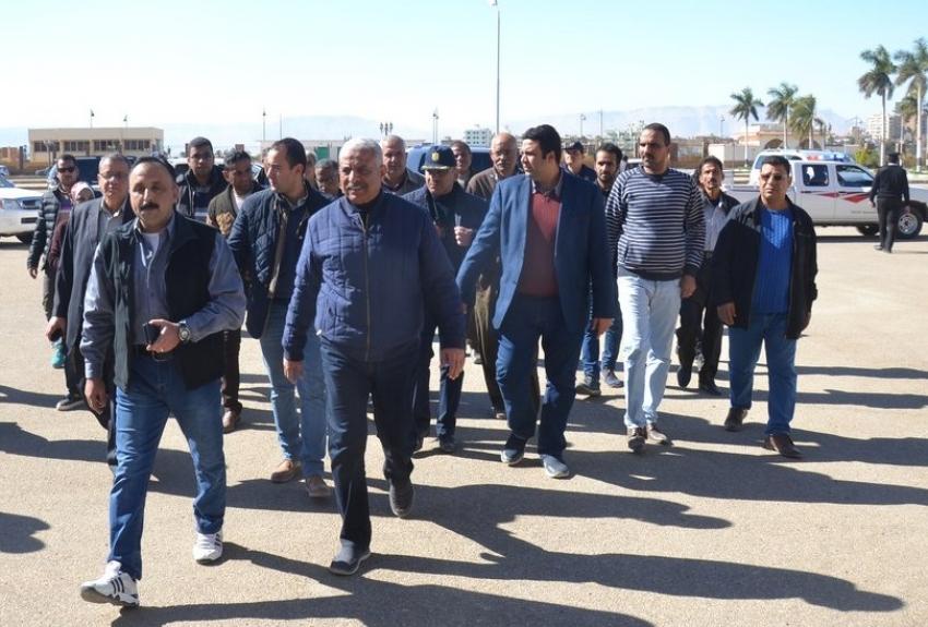 محافظ السويس يتفقد استاد الجيش والشوارع المحيطة استعداد لاستقبال كاس الامم الافريقية