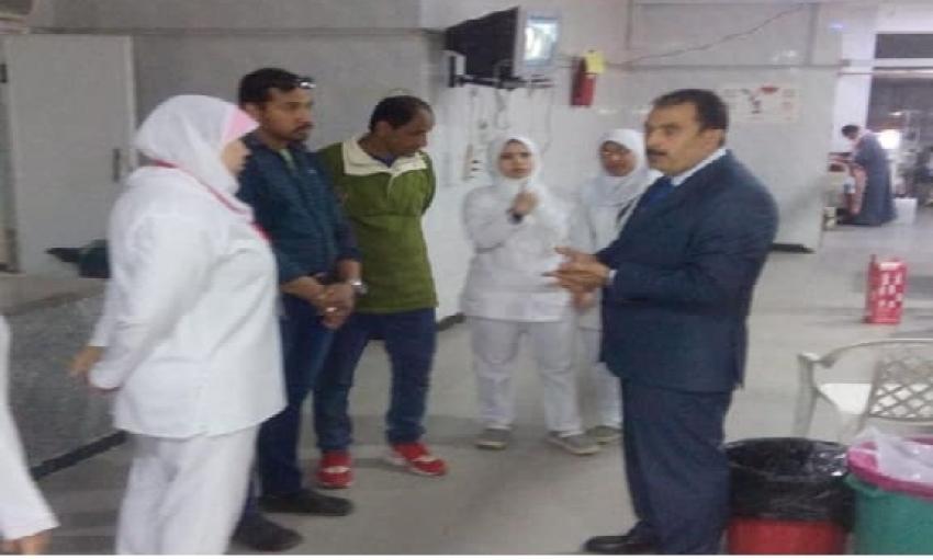 لبيب يقوم بمرور مسائى على اقسام الطوارئ بمستشفى السويس العام ويؤكد على استكمال تجهيزات السكن الخاص بالاطباء