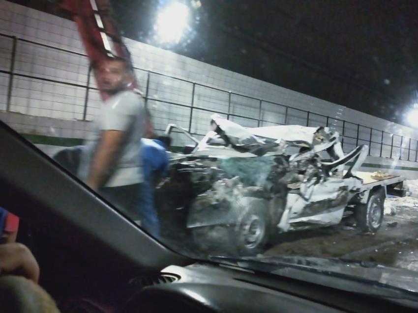 إصابة ٣ مواطنين في حادث دهس اتوبيس لسيارة نصف نقل داخل نفق احمد حمدي