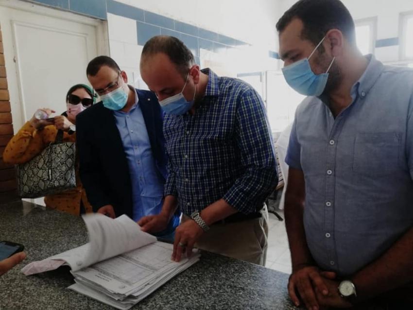 مساعد وزيرة الصحه للحميات يتفقد مستشفى الحميات بالسويس للاطمئنان على حالات مرضى الكورونا