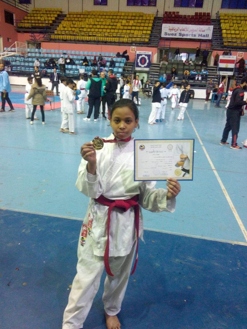 شيماء خالد لاعبة شباب المدينة تفوز بالمركز الاول فى بطولة قطاعات الكارتية